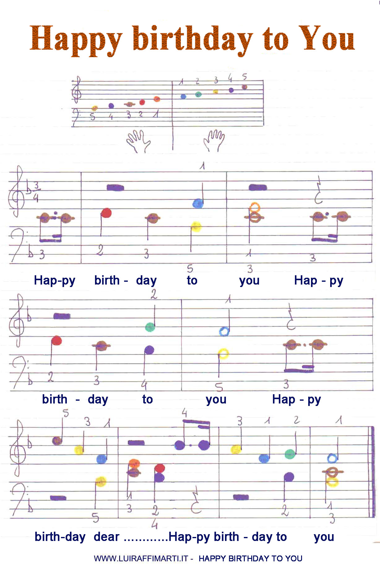 Happy birthday to you big colorful notes for piano kids hexwebz Gallery